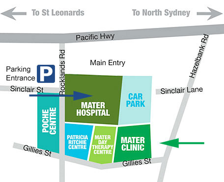 Mater Clinic Parking Map
